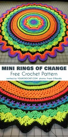 Crochet Patterns Techniques Mini Rings of Change Free Crochet Pattern Mini Rings of Change is a round baby blanket (approx.Mini Rings of Change is a round baby blanket (approx. cm if you use worsted weight and a mm hook) or a doily if you use thread Motif Mandala Crochet, Crochet Rug Patterns, Crochet Afghans, Crochet Motifs, Crochet Circles, Crochet Yarn, Free Crochet, Knitting Patterns, Crochet Blankets