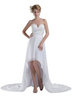 Topwedding Hi Lo Style Chiffon Strapless Beach Wedding A Line Bridal Gown White 20W *** Check out this great product.