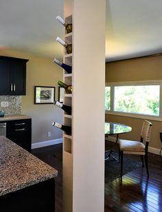 Wine rack built into kitchen column