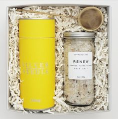 THE SUNSHINE Make someone's day with this bright and cheery gift. Perfect for a special friend, a thank you, an employee or just because. Renew Bath Salts from Soprano Labs Big Red Robe Oolong Tea from Silver Needle Tea Company Gold Tea Infuser Each item is securely snuggled in our ivory crinkle paper, packaged in our mini signature keepsake box. Finished with tan satin ribbon tied in a bow. Each gift comes with a customized handwritten note. Please add your message below. This gift ships within Silver Needle Tea, Tea Companies, Tea Tins, Oolong Tea, Tea Infuser, Bath Salts, Keepsake Boxes, Labs, Sunshine