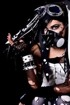 Rivethead, Gas Mask Girl, Cybergoth, Gothic Beauty, Goth Girls, Cyberpunk, Techno, Emo, Steampunk