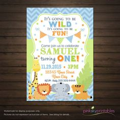 Jungle Animals First Birthday Invitation by PinkSkyPrintables