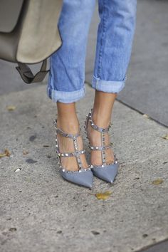Valentino Rockstudded beauties with denim.