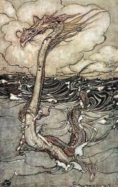 A Young Girl Riding a Sea Serpent, 1904 - Arthur Rackham