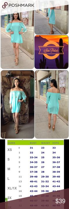 ❌BIG SALE Mint Dress This adorable mint green dress features quarter sleeves with lace accents. Rounded neckline can be worn on or off shoulder. 100% Rayon (This closet does not trade or use PayPal ) Son Paises Boutique Dresses Mini