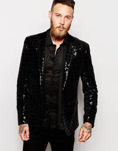 Skinny Blazer In Velvet With Sequins
