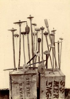 George Brown, War clubs on wooden crates, British New Guinea, 1899
