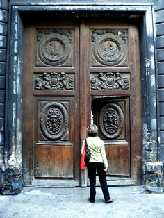 """Medusa Doors  on the  Hôtel  Amelot de Bisseuil,  Paris.While living here around 1776, Pierre-Augustin Caron Beaumarchais, French Playwrite  wrote   """"The Marriage of Figaro""""..   He also founded a business that secretly furnished weapons and supplies to help American rebels fight the #American-revolution."""