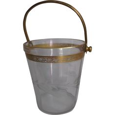 Clear Glass Vintage Ice Bucket Pail Gold Wash Metal Handle Etched/Cut from saltymaggie on Ruby Lane