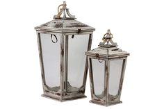 Urban Trends Collection Wooden / Lantern Set of Two UTC40106