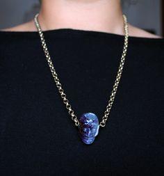 Amethyst Skull Necklace, via Etsy.