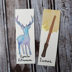 Watercolour bookmarks inspired by Harry Potter Watercolor Disney, Watercolor Bookmarks, Watercolor Projects, Watercolor Cat, Watercolor Paintings, Creative Bookmarks, Handmade Bookmarks, Cute Bookmarks, Corner Bookmarks