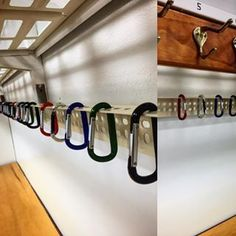 Teacher DIY- Use carabiners to hang up backpacks. | 35 Cheap And Ingenious Ways To Have The Best Classroom Ever