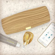 Gold Dentii brush with oak wood travel case and the Dentii app. Everything you need to hit the road Travel Design, Thats Not My, Graphics, App, Wood, Stuff To Buy, Graphic Design, Woodwind Instrument, Timber Wood
