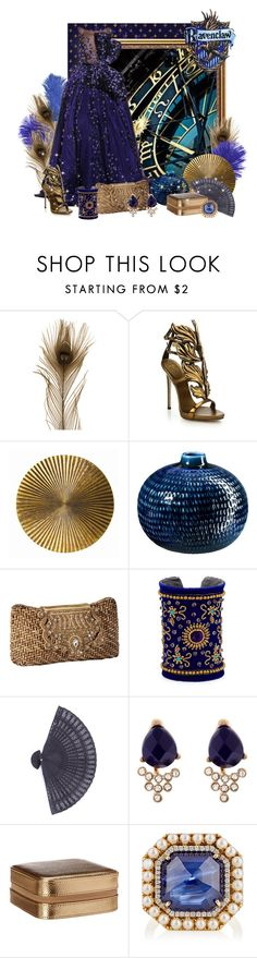 """Ravenclaw ball gown"" by caribea ❤ liked on Polyvore featuring RALPH & RUSSO, Giuseppe Zanotti, Arteriors, CB2, Chamak by Priya Kakkar, Accessorize, Mele, Irene Neuwirth, harrypotter and Blue"