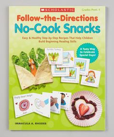 Turn snack time into learning time with tasty no-cook recipes that kids can make all by themselves! Each easy-to-follow reproducible recipe features step-by-step cards that kids can color, sequence and then compile in a take-home mini-book. Designed to connect with holidays and special days throughout the year, the recipes feature healthy, low-cost ingredients that are easy to gather. A tasty way to foster good nutrition and build beginning reading skills!