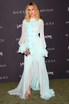 Actress Brie Larson, wearing Gucci, attends the 2016 LACMA Art + Film Gala honoring Robert Irwin and Kathryn Bigelow presented by Gucci at LACMA on October 29, 2016 in Los Angeles, California.