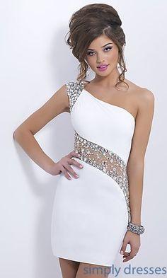 Dresses, Formal, Prom Dresses, Evening Wear: Short One Shoulder Blush Dress