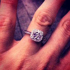 Engagement ring round center stone cushion halo