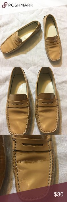 Tod's patent leather loafers Used condition with signs of wear throughout. Creasing and peeling on the patent leather. See pics pls. Size 35. Tod's Shoes Flats & Loafers