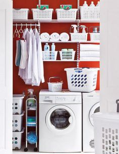 Howards Storage Worlds: The Family Laundry. A Busy Laundry is easier to manage with a good workflow and a custom designed with Elfa shelving System. Strong epoxy coated metal shelving System that can be customized to your needs. Home Interior, Interior Design Living Room, Living Room Designs, Laundry Decor, Laundry Room Organization, Laundry Area, Small Laundry, Elfa Shelving, Metal Shelving