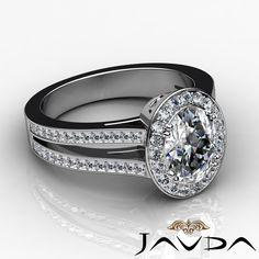 Halo Pre Set Oval Diamond Split Shank Engagement Ring GIA F VS1 Platinum 2 44ct | eBay