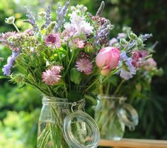We love this just picked flower style! | True English country garden wedding flowers in a jar
