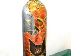 Bottle Art on Glass Hand Painted Butterfly door SkySpiritStudios