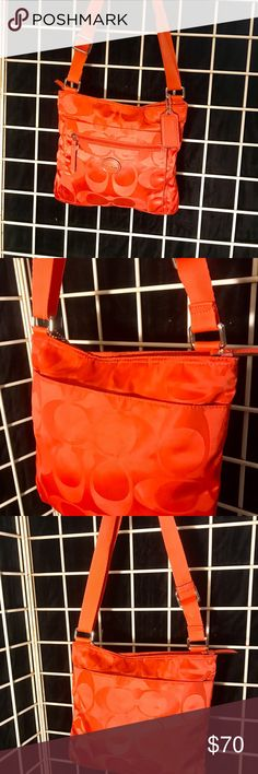 "Authentic Satin Crossbody Coach Purse Beautiful orange authentic signature satin purse is in mint condition.  It is absolutely fabulous.  The interior and exterior are in supreme condition.  Dimensions are 10"" across and 9""tall. Coach Bags Crossbody Bags"