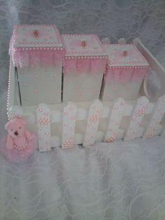 Kit branco rosa perolas mdf bebê