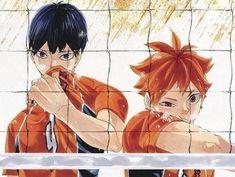 """""""freak duo in their orange jerseys for nationals. Haikyuu Manga, Manga Anime, Anime Art, Manga Girl, Anime Girls, Haikyuu Volleyball, Volleyball Anime, Cute Anime Pics, Cute Anime Couples"""