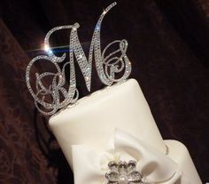 "6in. Monogram cake topper - Swarovski crystal monogram initial cake topper set- Glitz and Glam 6"" / 3"" set on Etsy, $215.00"