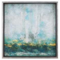 With This Play Of Colors Your Mind Can Create Many Different Interpretations For The Subject Of This Artwork. Accenting The Print Is A Silver Leaf Frame With An Inner Fillet In Black Satin. Print Is Under Glass.