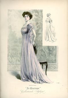 [De Gracieuse] Soirée- of receptie-toilet (December Edwardian Era Fashion, 1900s Fashion, Edwardian Dress, Vintage Fashion, French Fashion, Gothic Fashion, Ladies Fashion, Dinner Gowns, Art Nouveau