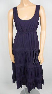 THEORY Purple Summer Sun Dress 2 Extra Small Flare Cotton Adjustable Tie Waist