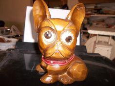 Antique Oswald Pre WWII Black Forest Wood Dog Rolling Eye Clock WORKING 1930s
