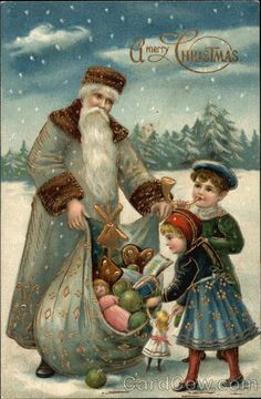 Vintage Christmas Postcard , Santa With a Blue Green Coat & a Sack Full of Toys Vintage Christmas Images, Old Christmas, Christmas Scenes, Victorian Christmas, Father Christmas, Vintage Holiday, Christmas Pictures, Christmas Postcards, Primitive Christmas