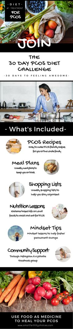 Next FREE PCOS Diet Challenge starts soon! Meal plans + recipes + shopping lists + nutritional video lessons + much more!