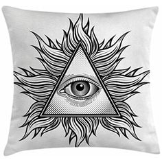 Eye Throw Pillow Cushion Cover by Ambesonne, Triangle Shape with Wavy Figures and All Seeing Eye Tattoo Style Spiritual Masonic, Decorative Square Accent Pillow Case, 24 X 24 Inches, Black and White * You can find out more details at the link of the image. (This is an affiliate link) #KidsFurnitureDcorStorage