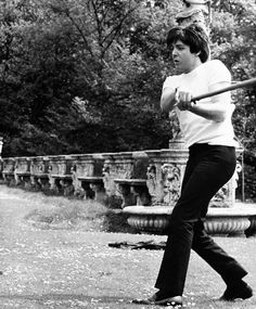 The Beatles playing softball, 1965. I got so confused by how he was standing and then remembered he's left handed