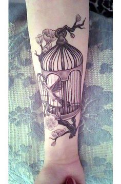 Tattoo Ideas Cute Black and Gray Birdcage