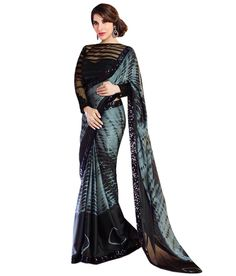 EON Black Faux Georgette Saree