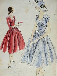 Vogue 8917 ©1956 One piece dress