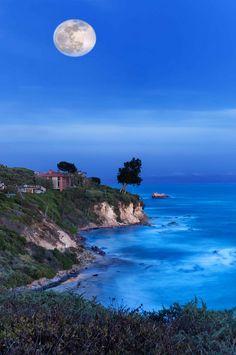 Moonrise over Corona Del Mar,  Newport Beach, California.