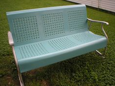 Vintage Metal Glider Basketweave Three Seat Powder Blue