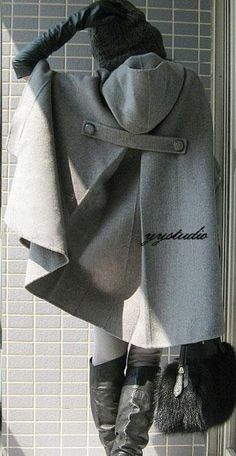 Smoke Gray Pure Cashmere Silk Satin Luxury Victorian Retro Hooded Cape Coat. yystudio, via Etsy.