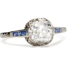 Early 20th C. Sapphire & 1.12 c. Diamond Ring - The Three Graces