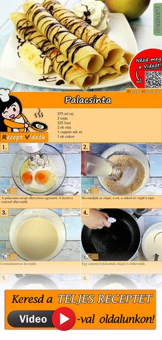 Pancake recipe with video - a simple recipe for pancake batter - You have to try this pancake recipe with video. The pancake recipe video is easy to find using the - Vegan Breakfast Recipes, Raw Food Recipes, Cooking Recipes, Pancakes Recipe Video, Sports Food, Hungarian Recipes, Sweet Desserts, Healthy Baking, Food Inspiration