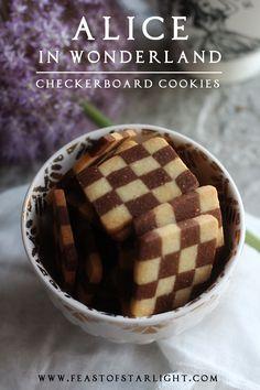Alice in Wonderland: Checkerboard Cookies - Feast of Starlight Checkerboard Cookies Recipe, Flourless Chocolate, Le Diner, Disney Food, Disney Recipes, Walt Disney, Food Themes, Chocolate Chip Cookies, Food Inspiration