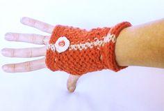 Pumpkin orange gloves Fingerless GlovesValentine by HandmadeTrend, $24.00